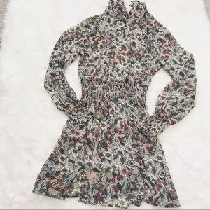 [Paper Crane] Sheer Floral Mock Neck Chiffon Dress